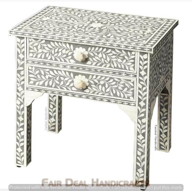 Blue Bone Inlay Wooden Modern Antique Handmade Bed Side Table 2 Drawer